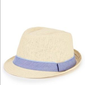Cremieux Men's Straw Fedora with Overlapped Band